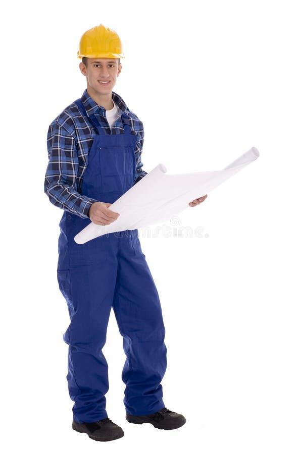 blueprints рабочий-строитель стоковое изображение