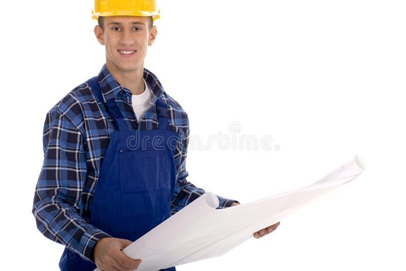blueprints рабочий-строитель стоковые фото