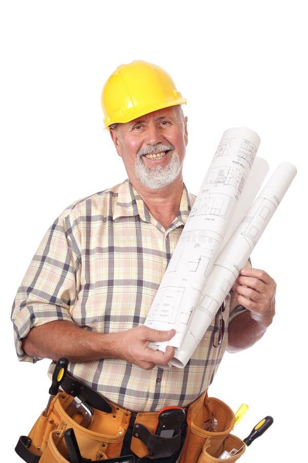 blueprints рабочий-строитель стоковая фотография rf