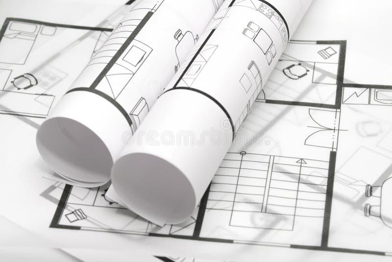 Blueprints of architecture stock image