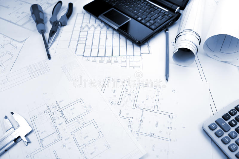 Blueprints background with computer and tools stock image image of download blueprints background with computer and tools stock image image of blue industry malvernweather Images