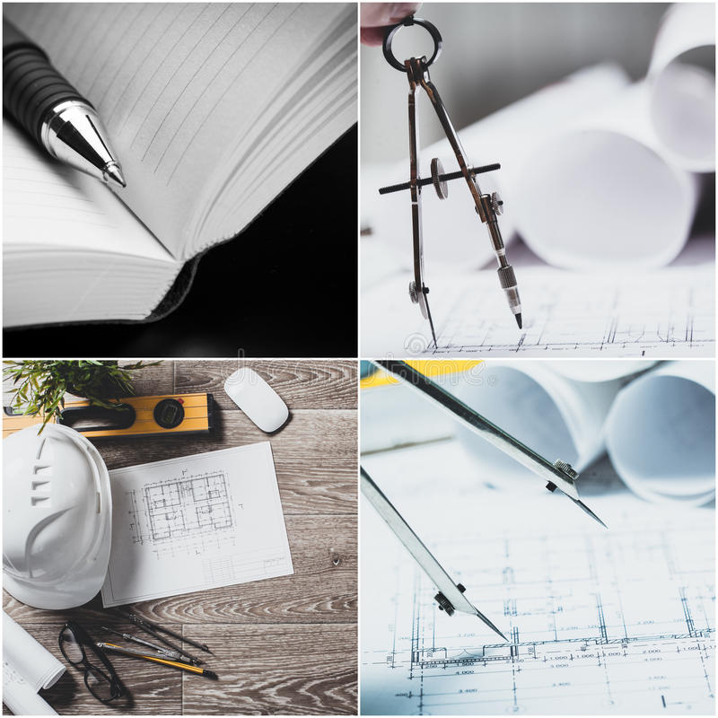 Blueprints, construction stock photography
