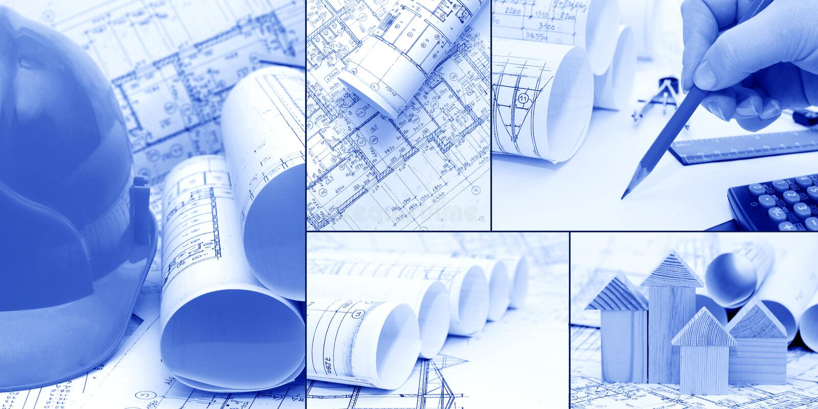 Blueprints, construction - a collage. As the concept of construction royalty free stock photography