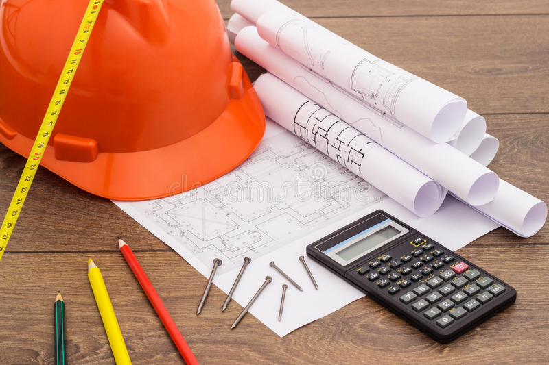 Blueprints and Construction tools royalty free stock images