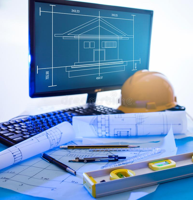 Blueprints drawings architectural design. Architectural design and project blueprints drawings royalty free stock photo