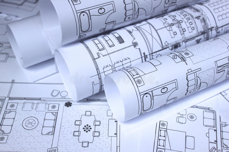 Blueprints For Home, Office Stock Photo