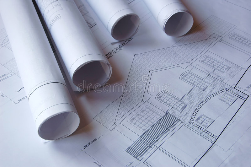 Blueprints of a house stock photography