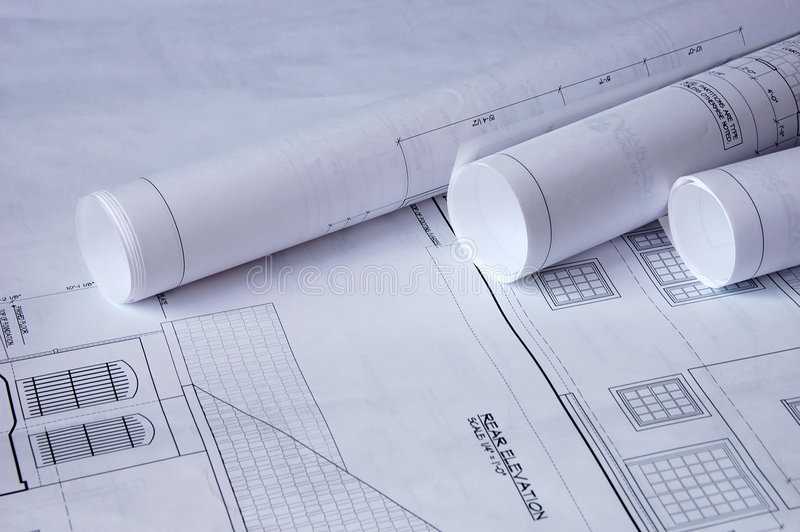 Blueprints of a house royalty free stock photo