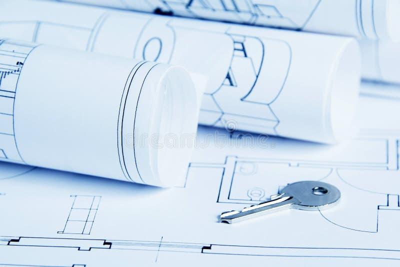 Blueprints house. Blueprint house plan with key - blue tone stock images