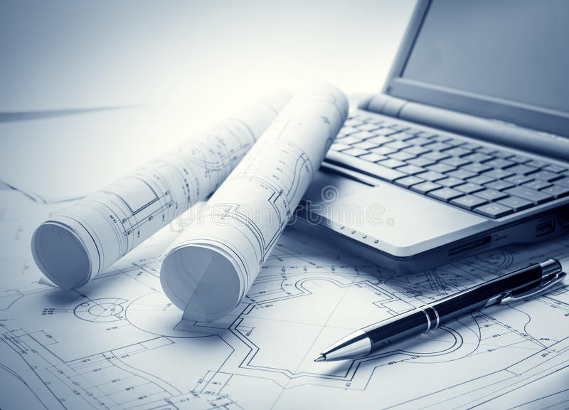 Blueprints and laptop stock image image of document 36610097 blueprint rolls laptop and pen malvernweather Images