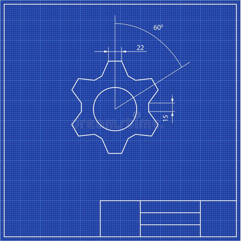 Blueprints. Mechanical engineering drawings of gear. Cover. Banner. Technical Design White and blue vector illustration