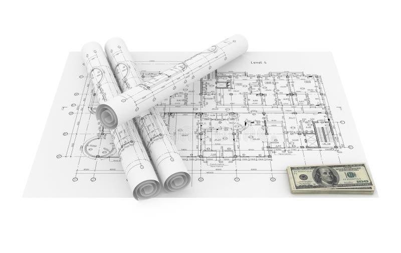 Blueprints and money royalty free illustration