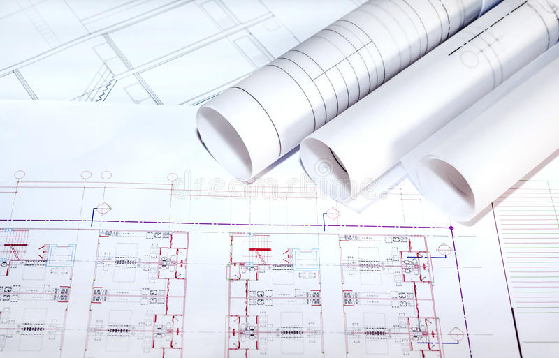 Blueprints paper and blueprints rolls royalty free stock image