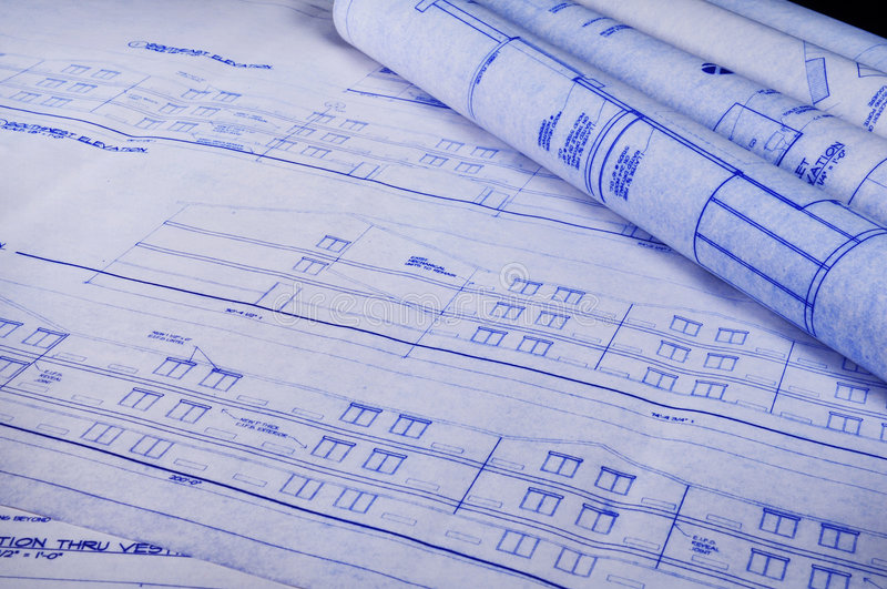 Blueprints on the table stock images