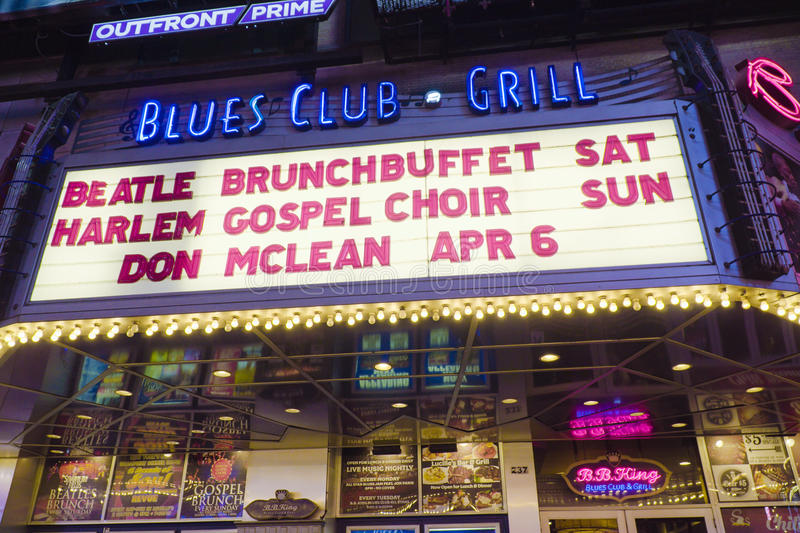Blues Club and Grill in New York Times Square- MANHATTAN - NEW YORK - APRIL 1, 2017 royalty free stock image