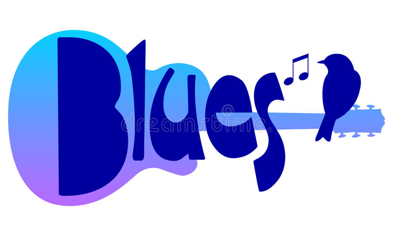 Blues Guitar Music/eps. Logo-type illustration of the title Blues with a guitar and bluebird
