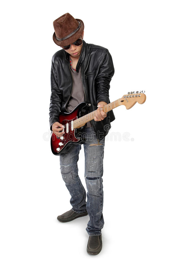 Free Blues Guitar Player Cool Attitude Royalty Free Stock Images - 53584379
