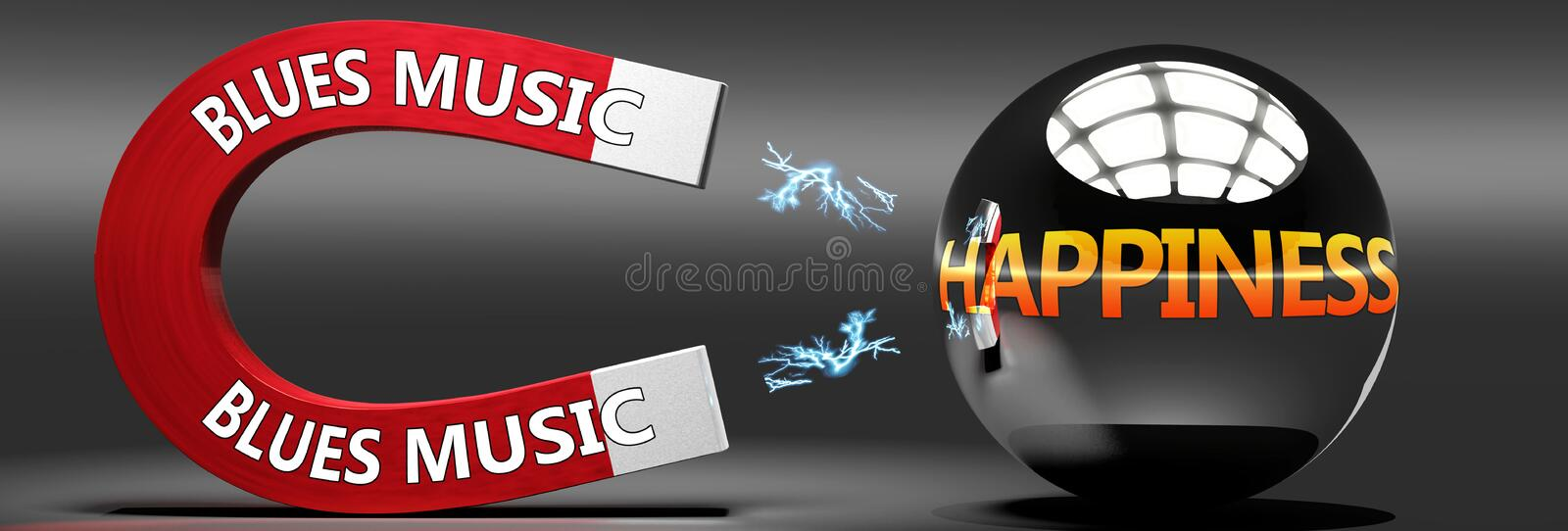 Blues music leads to happiness, joy and pleasure - this abstract idea is pictured as a red magnet with two big Blues music logo. Attracting a shiny, metal royalty free illustration