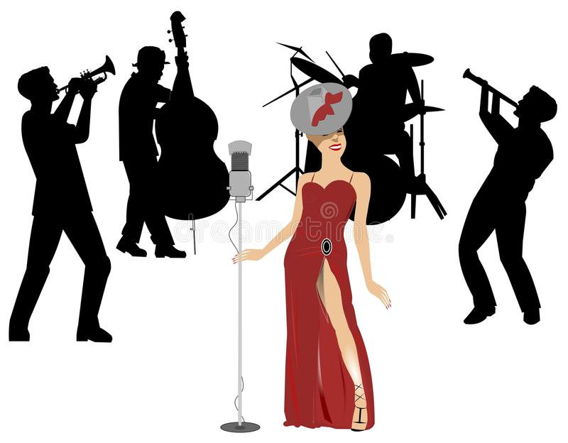 Blues singer on stage. Female blues singer on stage with backup band royalty free illustration