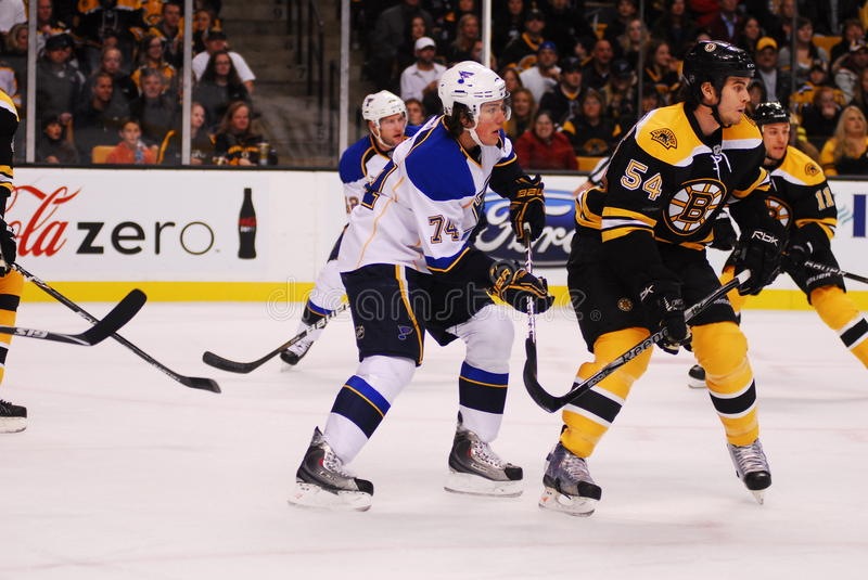 Blues v. Bruins November 6, 2010. Blues Forward TJ Oshie (74) sets up behind Bruins Defenseman Adam McQuaid (54) in the first period of Saturdays game in Boston royalty free stock photo
