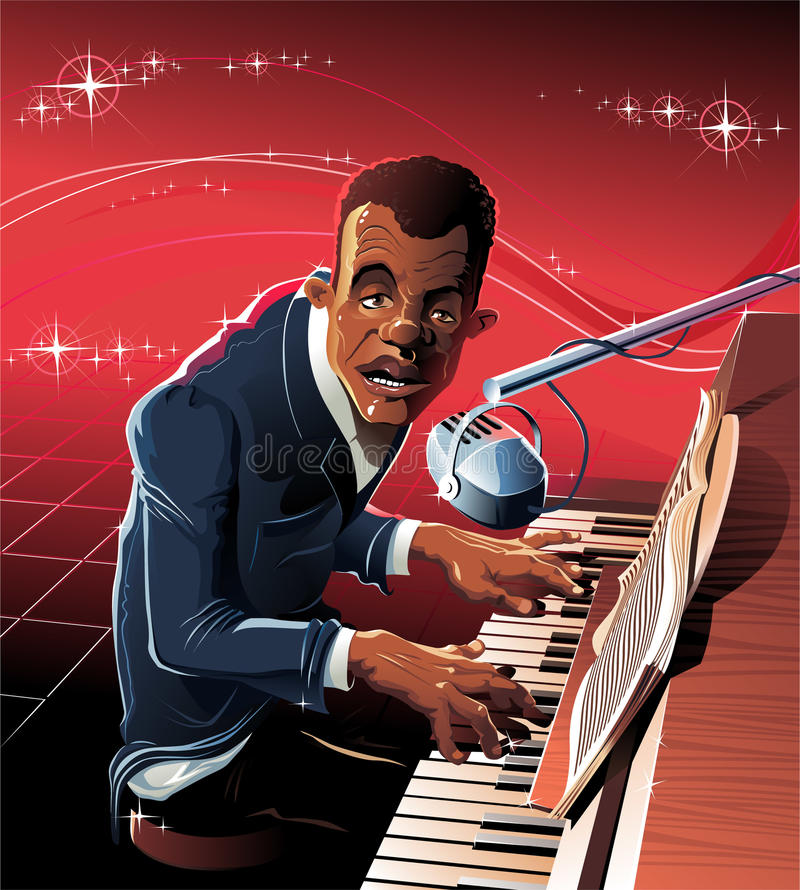 Bluesman. The Dark-skinned musician sits for grand piano and plays jazz stock illustration