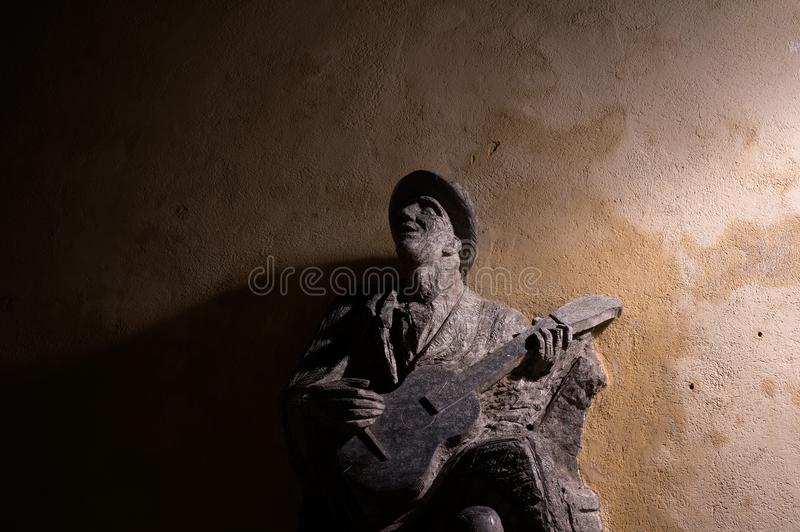 Bluesman with guitar royalty free stock photo
