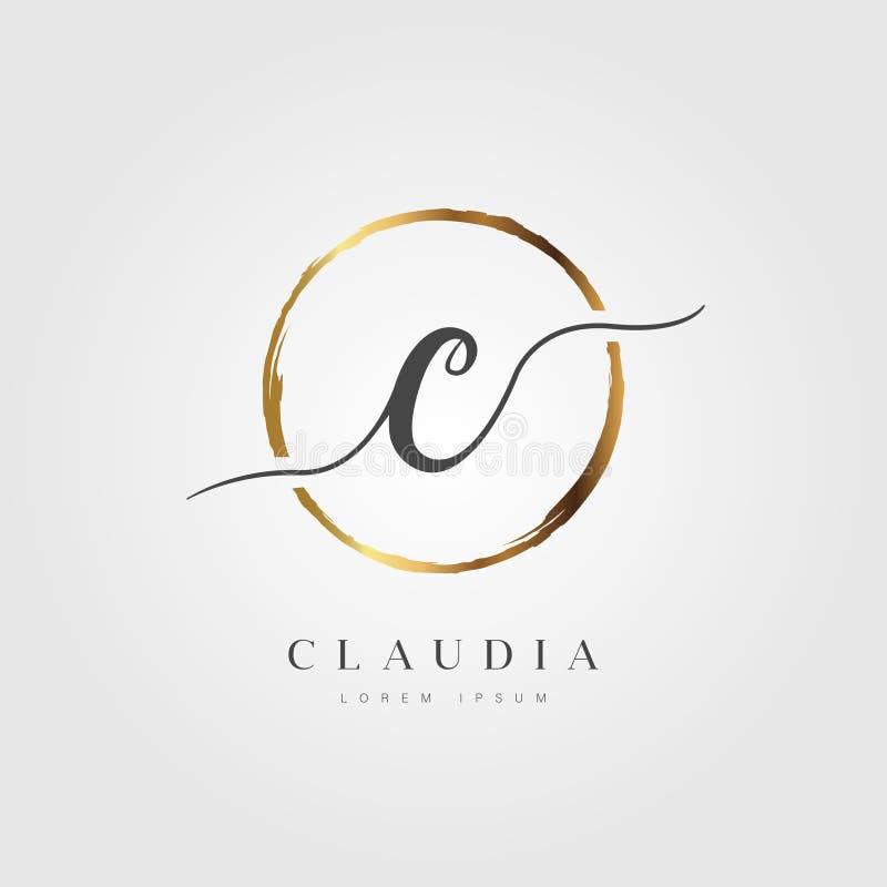 Elegant Initial Letter Type C Logo With Gold Circle Brushed stock illustration