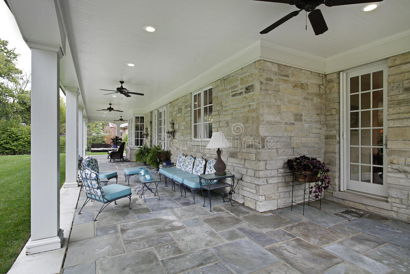 Bluestone patio with columns stock images