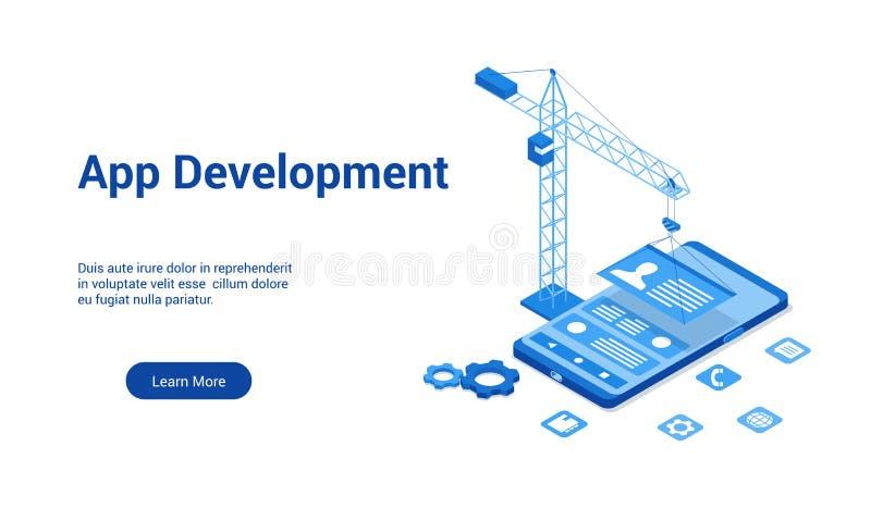 Bluetemplate do desenvolvimento 3d do App ilustração royalty free