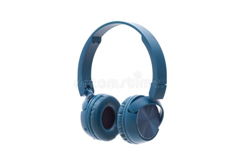 Bluetooth blue headphone on white background isolated. Studio pack shot equipment stock photo
