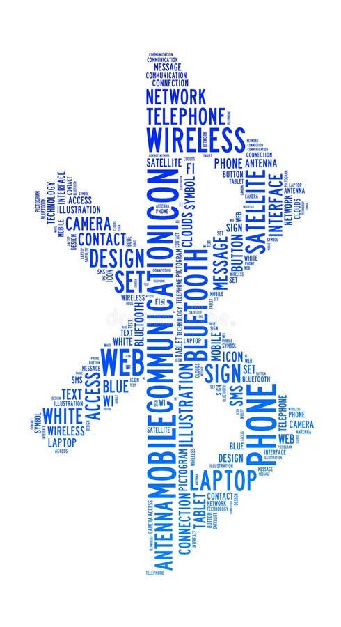 bluetooth chmurnieje ikona tekst ilustracja wektor