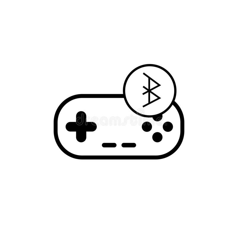 Bluetooth & gamepad icon black - vector illustration eps ten stock illustration