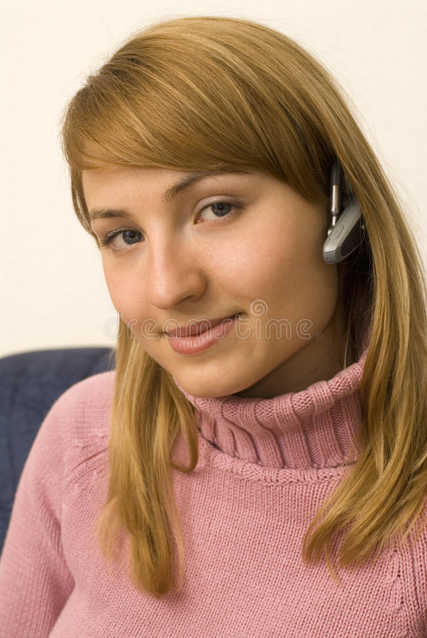 Bluetooth girl stock images