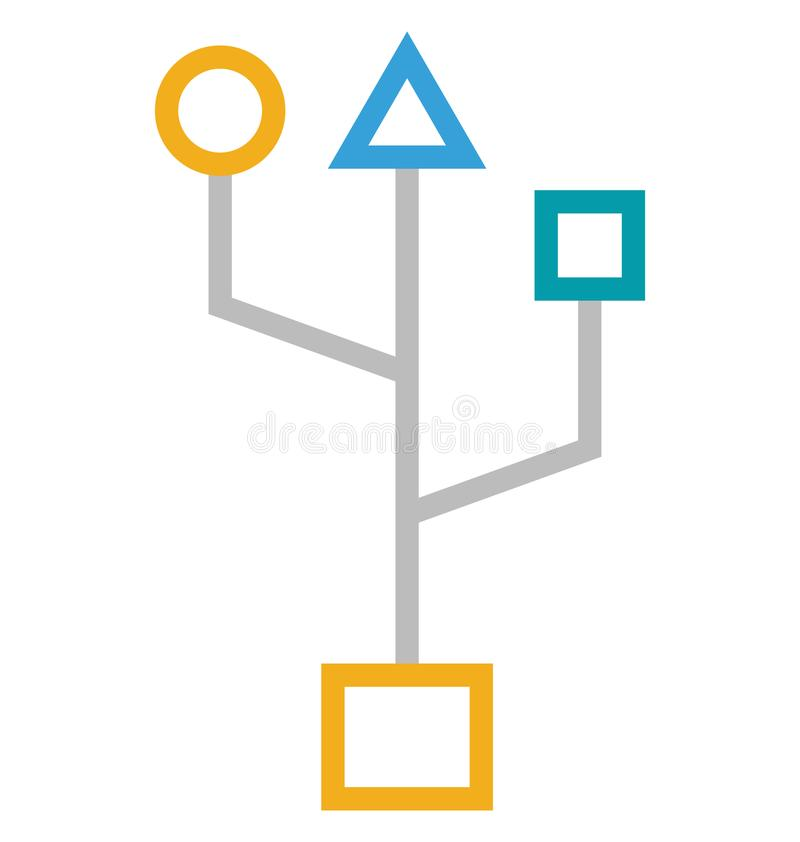 Bluetooth Symbol Isolated Line With Color Vector Icon Editable Stock