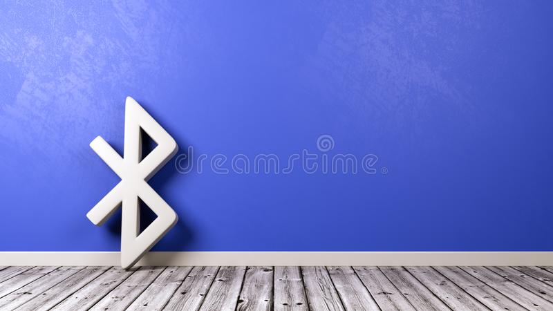 Bluetooth Symbol On Wooden Floor Against Wall Stock Illustration