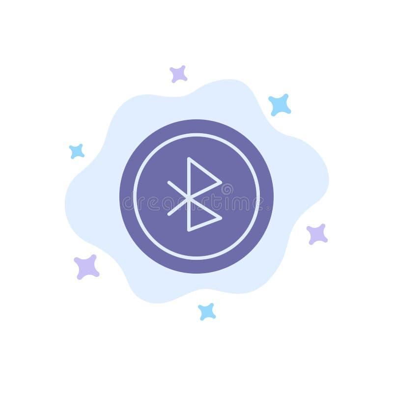 Bluetooth, Ui, ícone azul da interface de usuário no fundo abstrato da nuvem ilustração stock