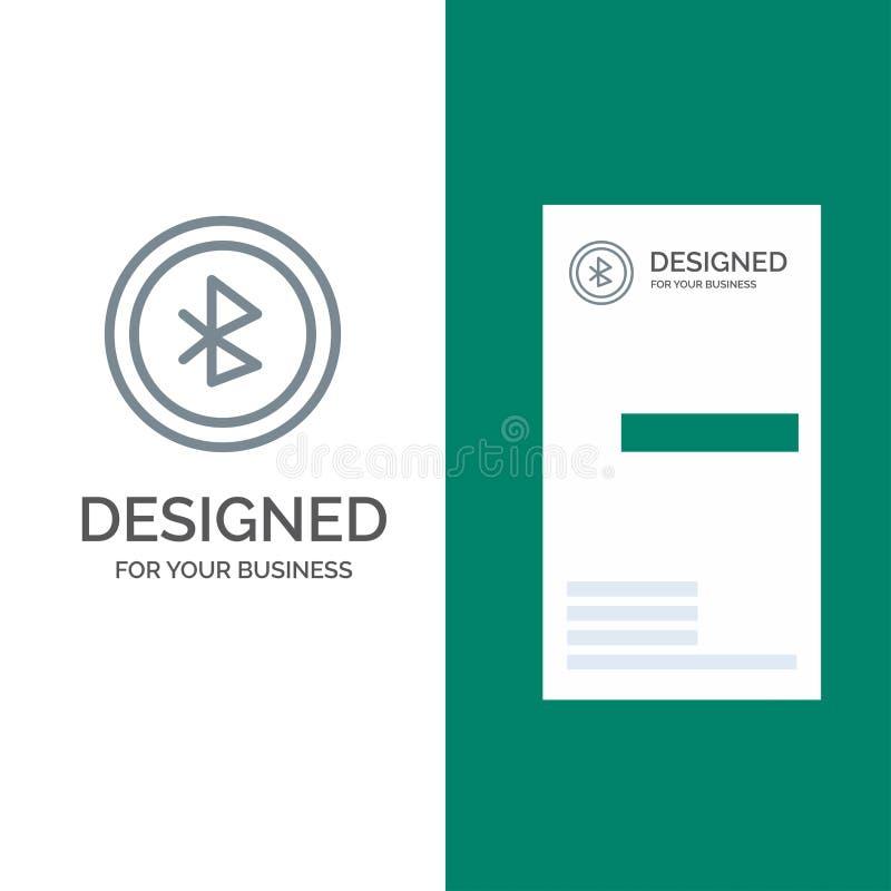 Bluetooth, Ui, дизайн логотипа пользовательского интерфейса серые и шаблон визитной карточки иллюстрация вектора