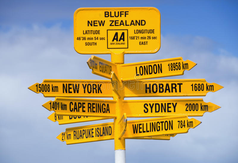 Download Bluff Signpost stock photo. Image of places, island, signpost - 15891234
