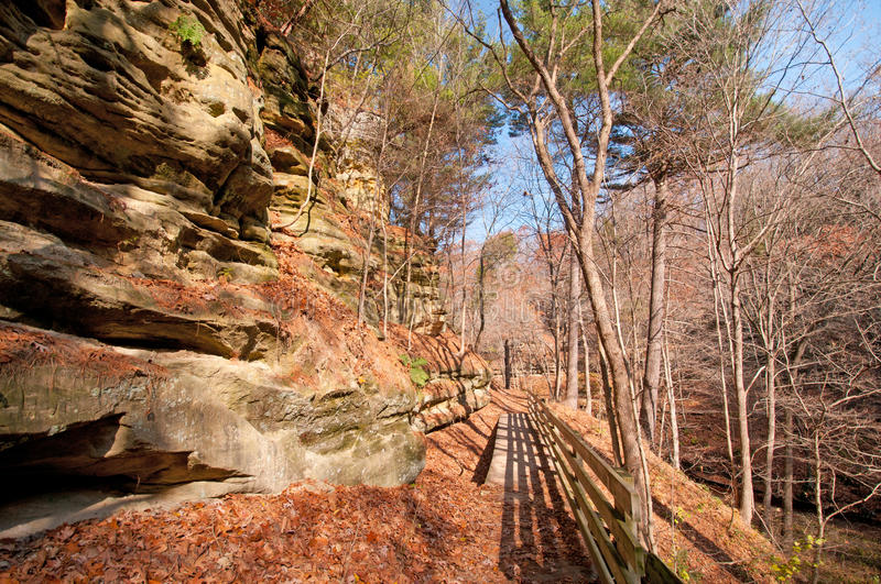 Bluff Trail in the late fall. Trail in Starved Rock State Park in late fall royalty free stock image