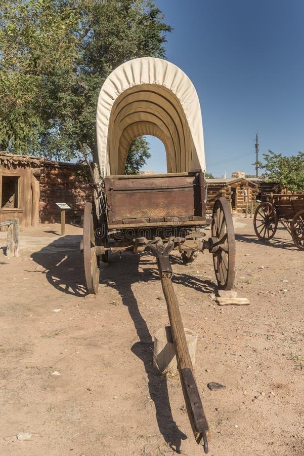 Bluff Utah de centre de visiteur de fort de bluff de chariot couvert image stock
