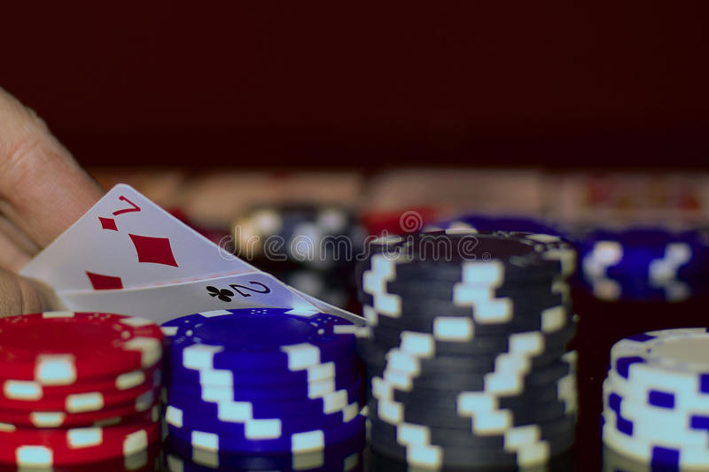 Bluffing in Texas hold`em stock photo