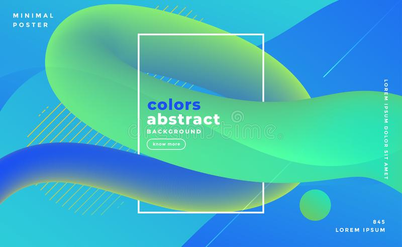 Bluish abstract fluid loop banner design background stock illustration
