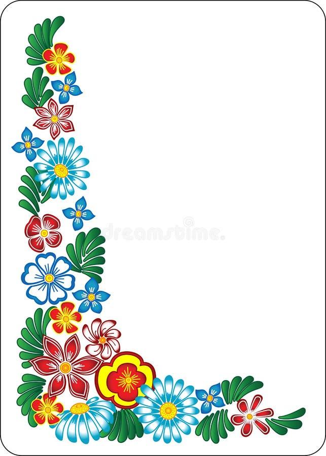 Blume auf weißem Hintergrund. Ecke. lizenzfreie abbildung