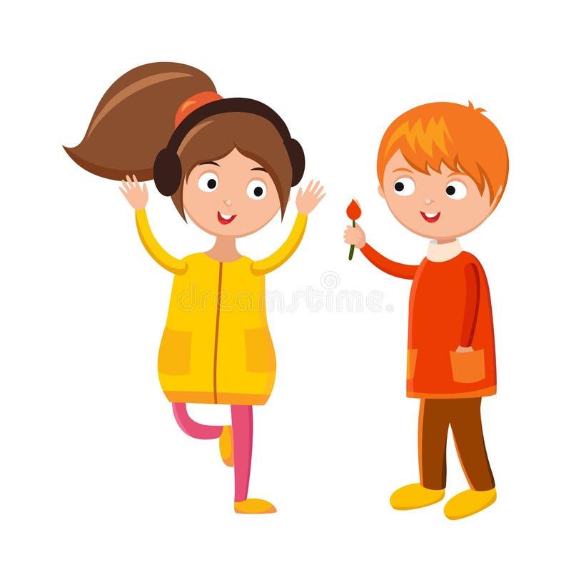 Blume des kleinen Jungen und nette Kinder der Mädchenkopfhörer, die Handzeichentrickfilm-figur-Vektor wellenartig bewegen vektor abbildung