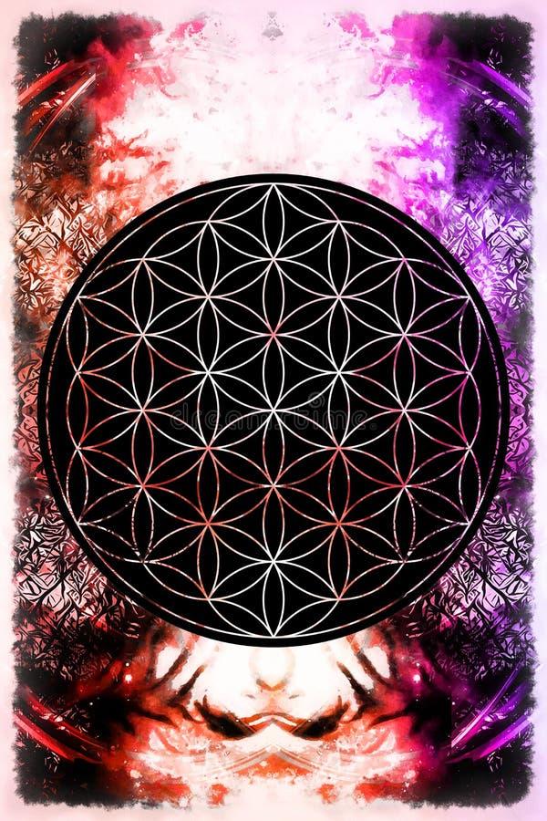 Blume des Lebens auf abstraktem Farbhintergrund stockbild
