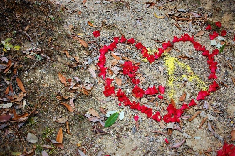 Blume, die Liebe mit Herz-Entwurf zeigt stockbilder