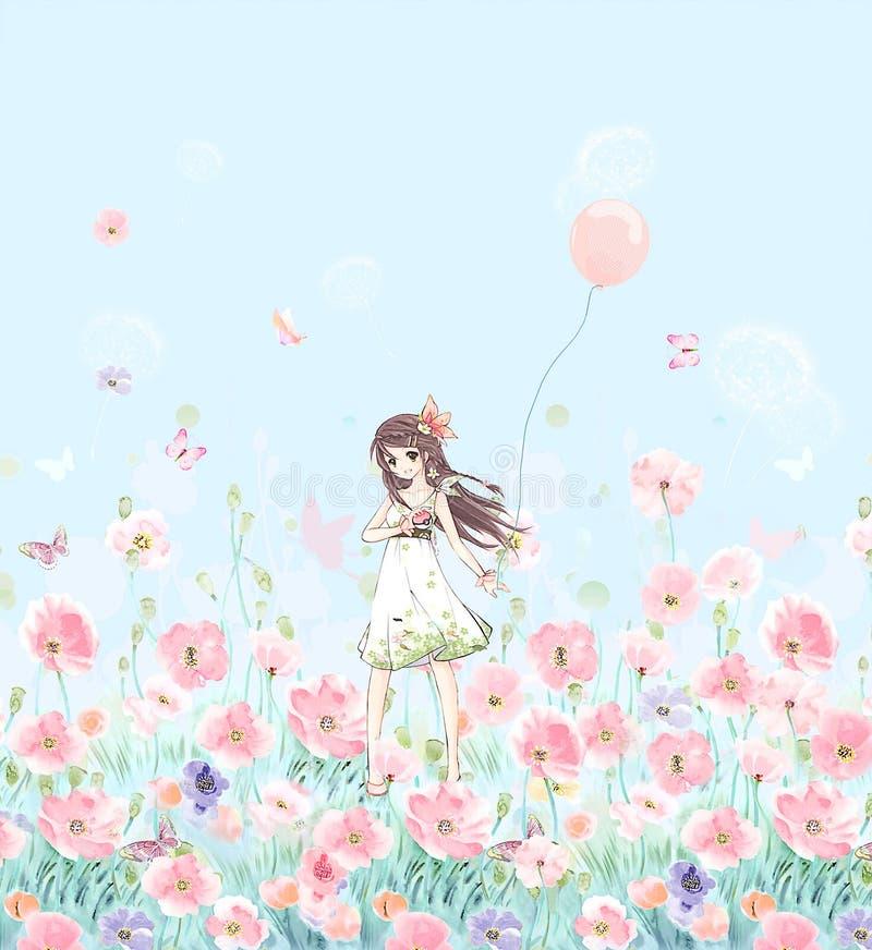 Blume Illustrationsmuster im einfachen Hintergrund lizenzfreie abbildung