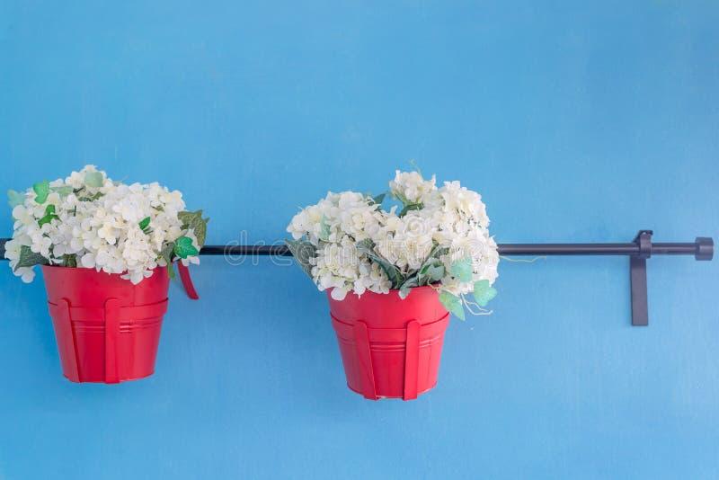 Blume im Blumentopf auf Schiene lizenzfreie stockfotografie