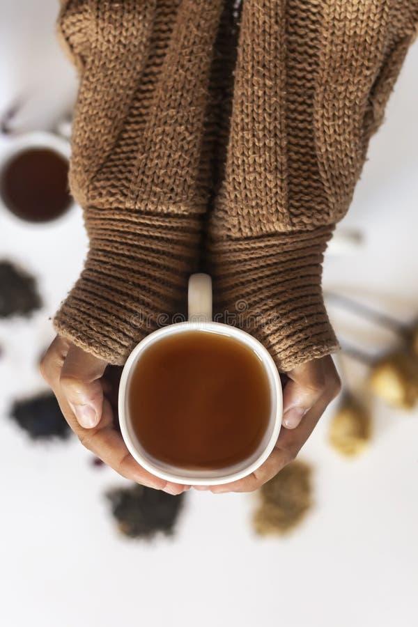 Blume im Schnee Frauen, die heißen Tee während der kalten Winterurlaube trinken Frau mit einer Tasse Tee stockfotografie