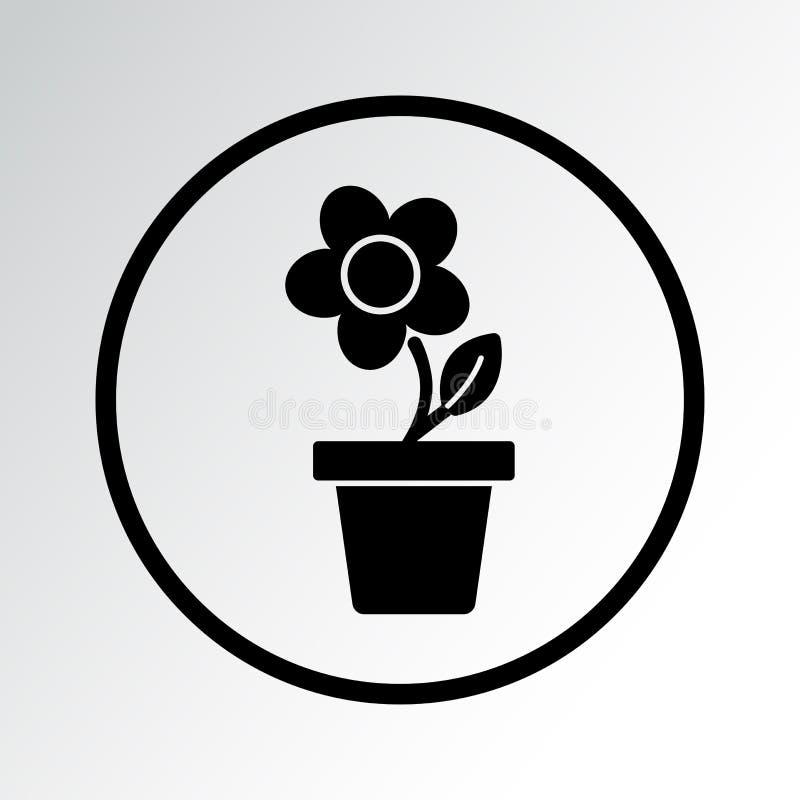 Blume im Topf, schwarze runde Ikone Auch im corel abgehobenen Betrag lizenzfreie abbildung